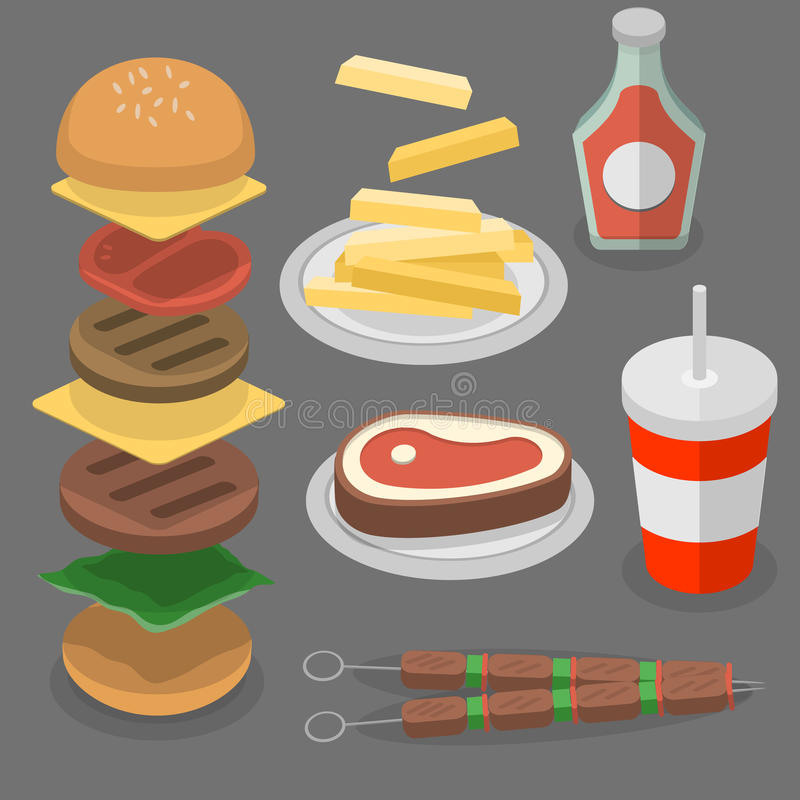 Aliments de préparation rapide, hamburger, kola illustration de vecteur