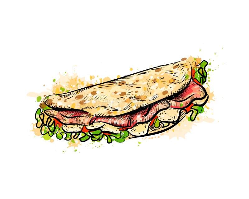 Aliments de préparation rapide mexicains de Taco Tacos traditionnel illustration stock