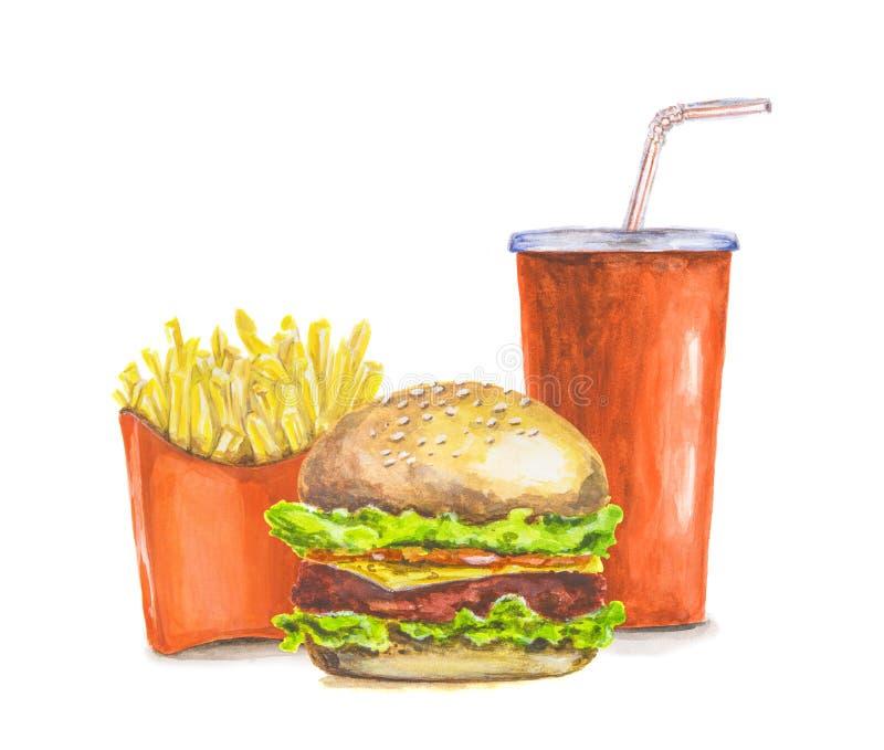 Aliments de préparation rapide peints image stock