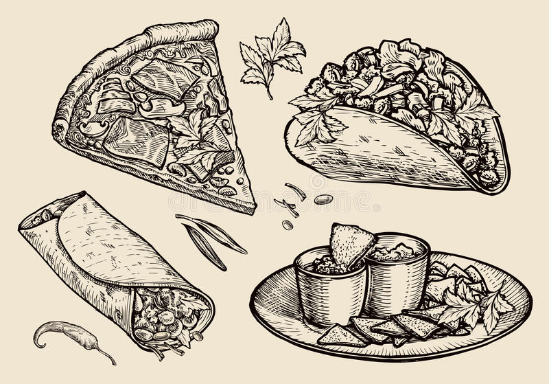 Aliments de préparation rapide Pizza tirée par la main, sandwich, tacos, nachos, burrito, shawarma, pain pita Illustration de vec illustration libre de droits