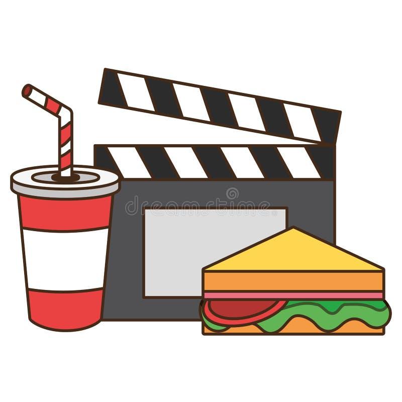 Aliments de pr?paration rapide de cin?ma illustration stock