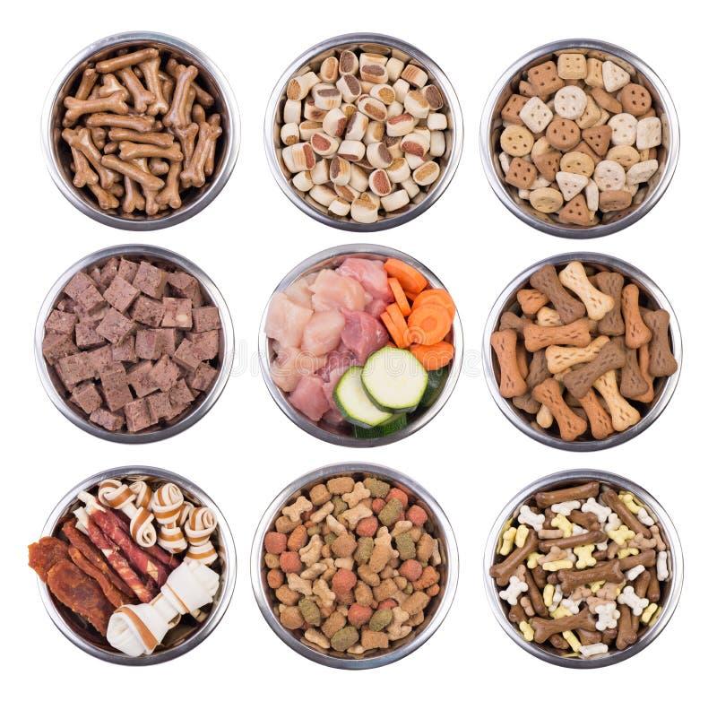 Aliments pour chiens dans des cuvettes d'isolement sur le fond blanc image stock