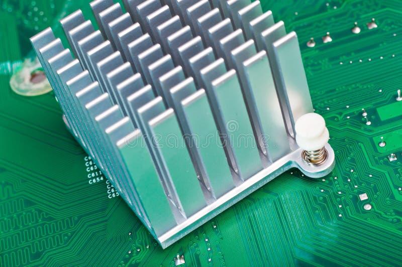 Aliminium Heatsink on Circuit Board stock photo
