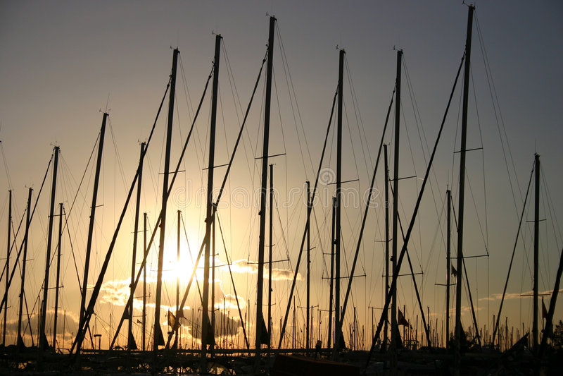 Alimos marina. Sunset in Saronic gulf stock photos