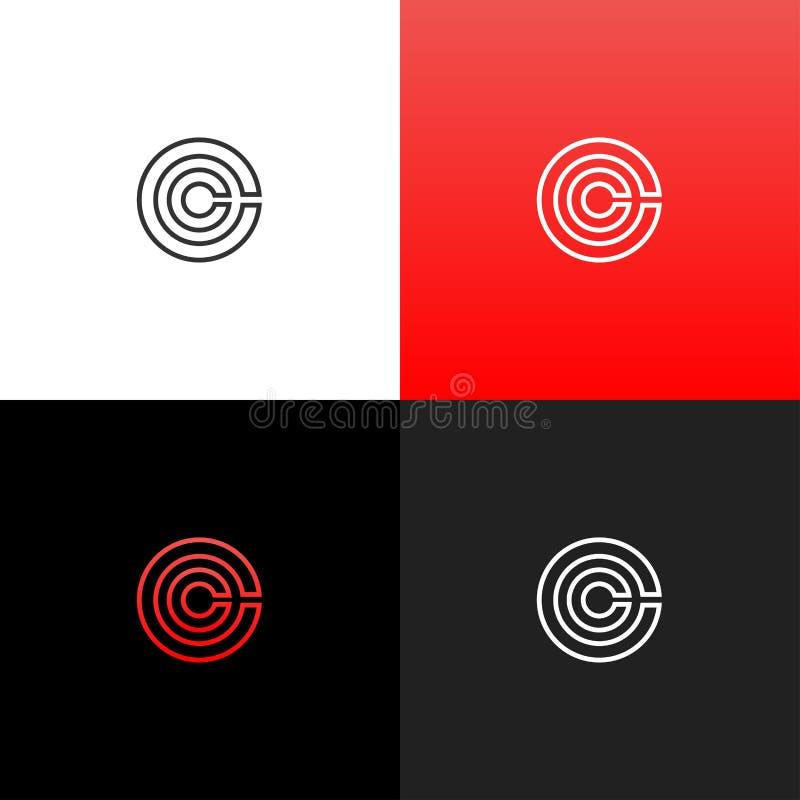 Alinea c en logotipo del círculo Logotipo linear de la letra c para las compañías y las marcas con una pendiente roja ilustración del vector