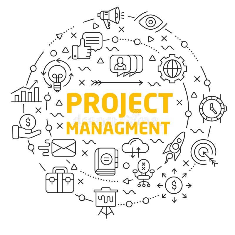 alinea la gestión del proyecto del círculo del ejemplo de los iconos libre illustration