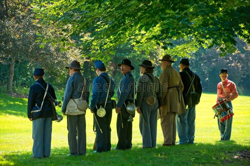 Alineación de la unidad de la guerra civil fotografía de archivo libre de regalías