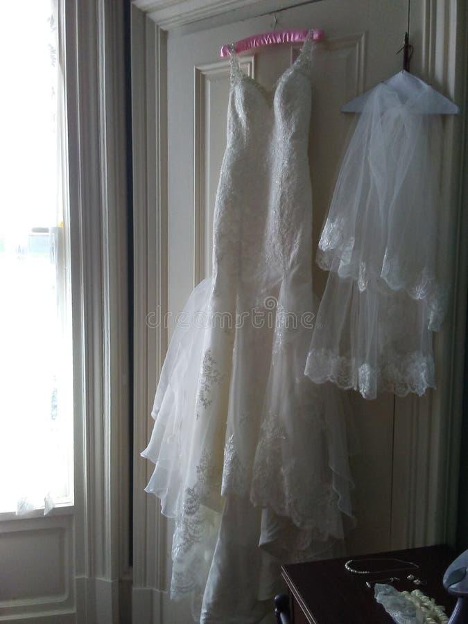 Alineada y velo de boda fotografía de archivo libre de regalías