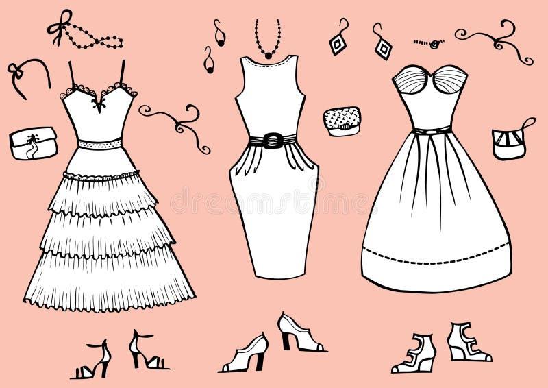 Alineadas y accesorios de la manera stock de ilustración