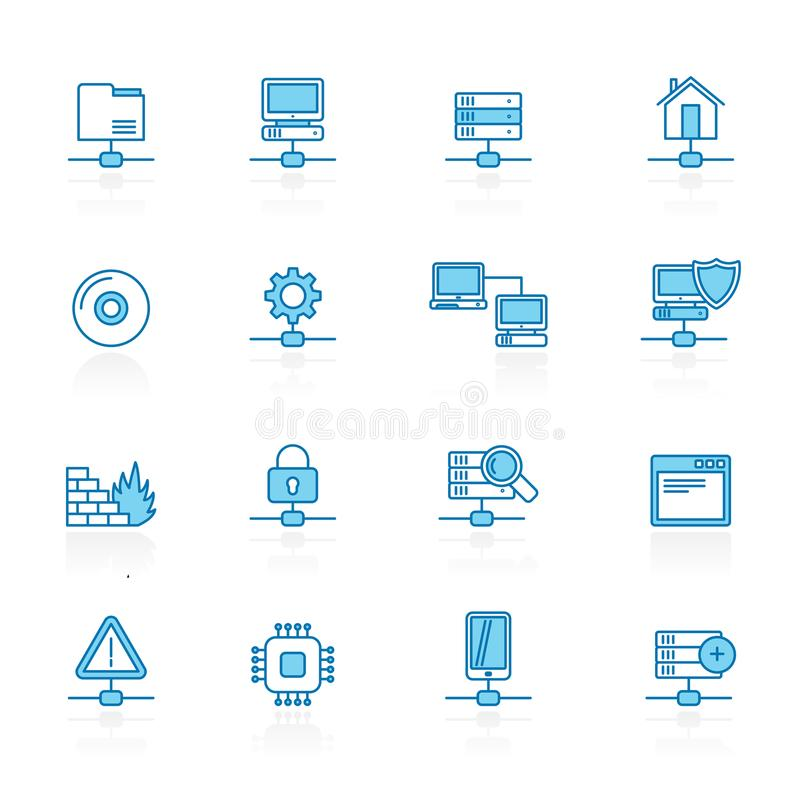 Alinee con la red azul del fondo, servidor y los iconos del recibimiento stock de ilustración