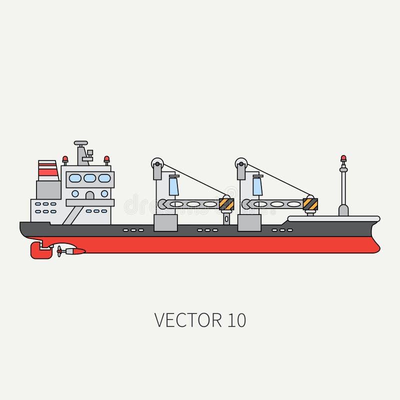 Alinee el buque de carga plano del envase del icono del color del vector Flota mercantil Estilo del vintage de la historieta Océa libre illustration