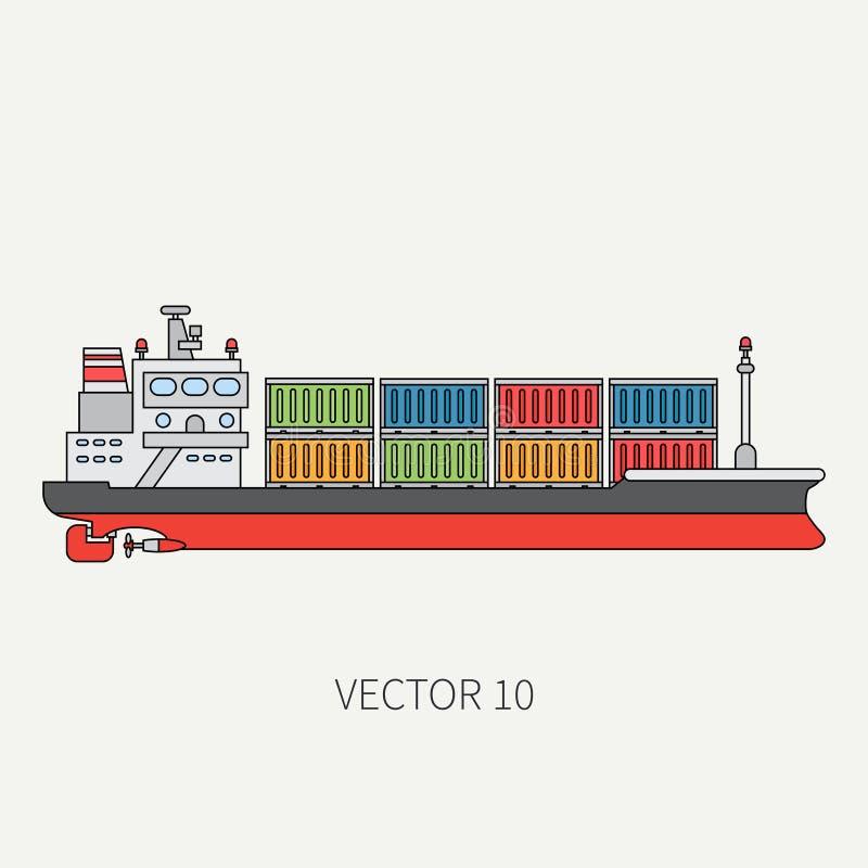 Alinee el buque de carga plano del envase del icono del color del vector Flota mercantil Estilo del vintage de la historieta Océa ilustración del vector