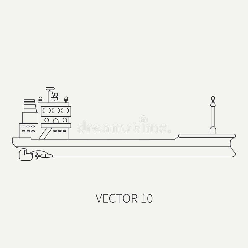 Alinee el buque de carga retro del envase del icono del vector plano Flota mercantil Estilo del vintage de la historieta Océano M stock de ilustración
