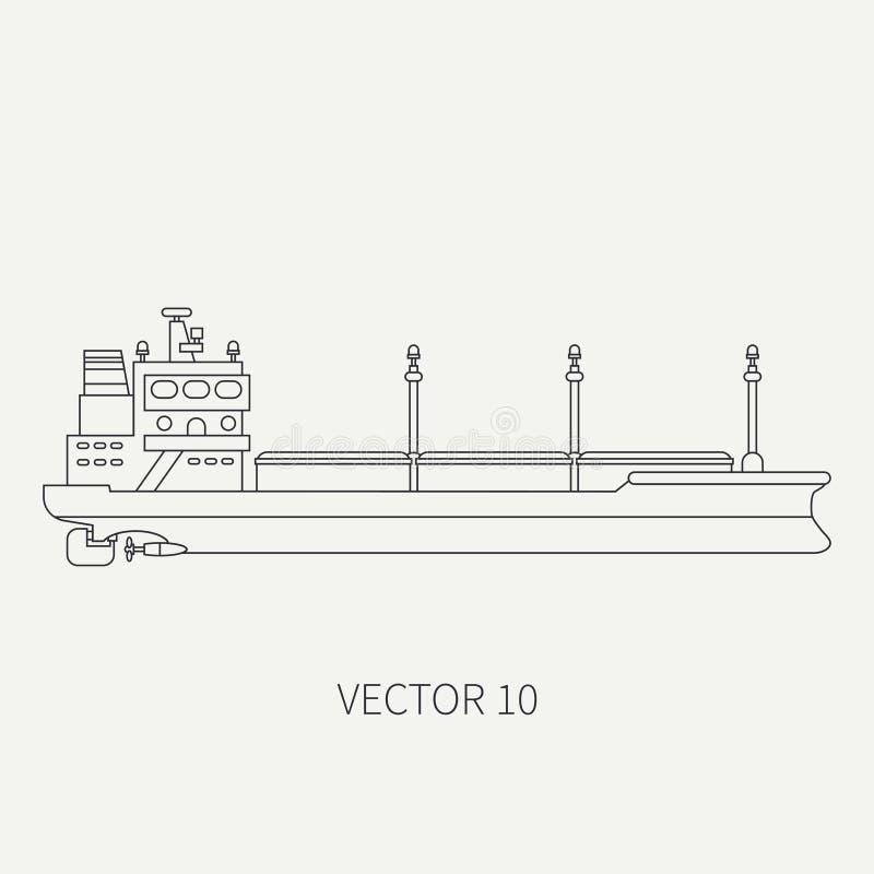 Alinee el buque de carga retro del envase del icono del vector plano Flota mercantil Estilo del vintage de la historieta Océano M ilustración del vector