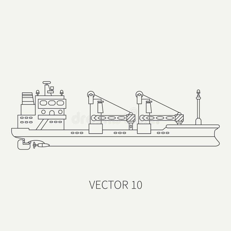 Alinee el buque de carga retro del envase del icono del vector plano Flota mercantil Estilo del vintage de la historieta Océano M libre illustration