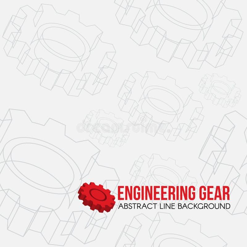 Alinee el fondo del modelo del engranaje de la ingeniería y el diseño rojo del vector del engranaje del logotipo ilustración del vector