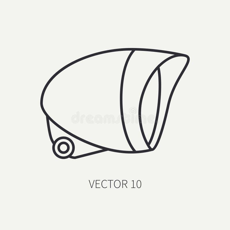 Alinee el headligh brillante de la bici clásica del icono de la motocicleta del vector del llano plano Retro legendario Estilo de libre illustration