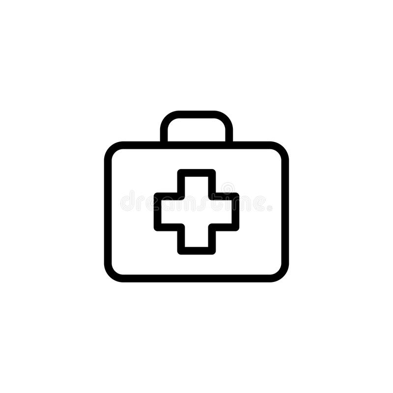 Alinee el icono de los primeros auxilios en el fondo blanco stock de ilustración