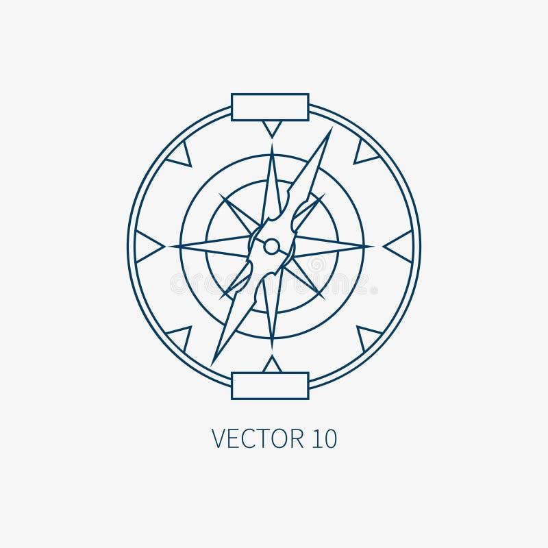 Alinee el icono marino azul con los elementos náuticos del diseño - compás retro del vector plano Estilo de la historieta Ejemplo libre illustration