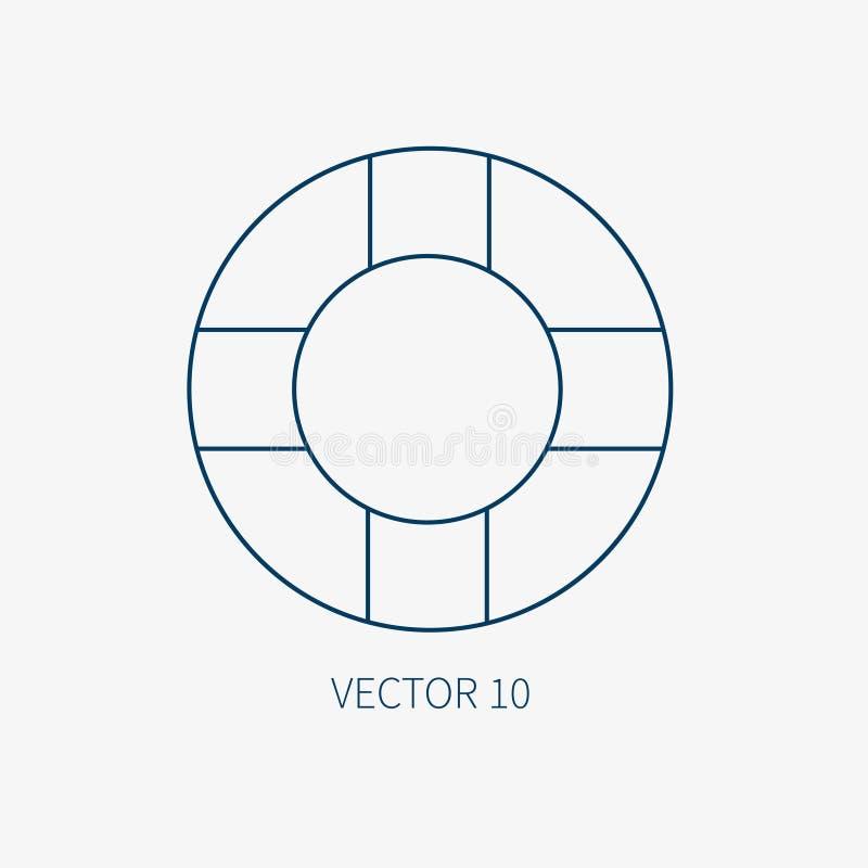 Alinee el icono marino azul con los elementos náuticos del diseño - salvavidas retro del vector plano Estilo de la historieta eje libre illustration