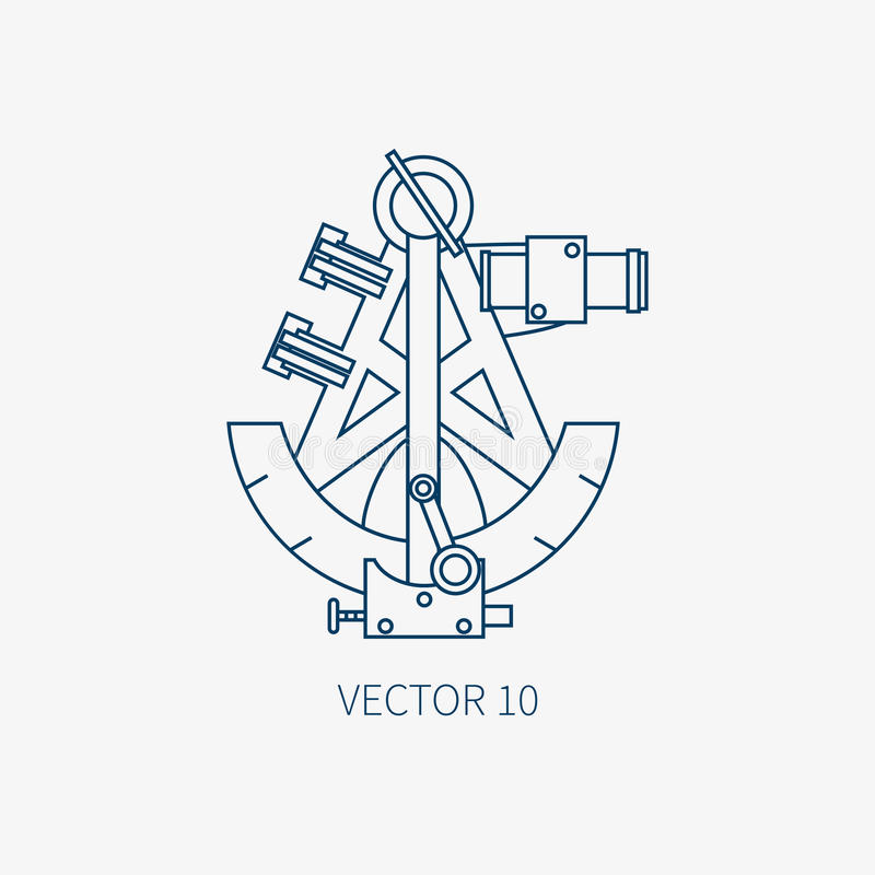 Alinee el icono marino azul con los elementos náuticos del diseño - sextante retro del vector plano Estilo de la historieta Ejemp stock de ilustración
