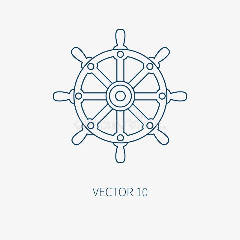 Alinee el icono marino azul con los elementos náuticos del diseño - volante del vector plano Estilo de la historieta ejemplo y ilustración del vector