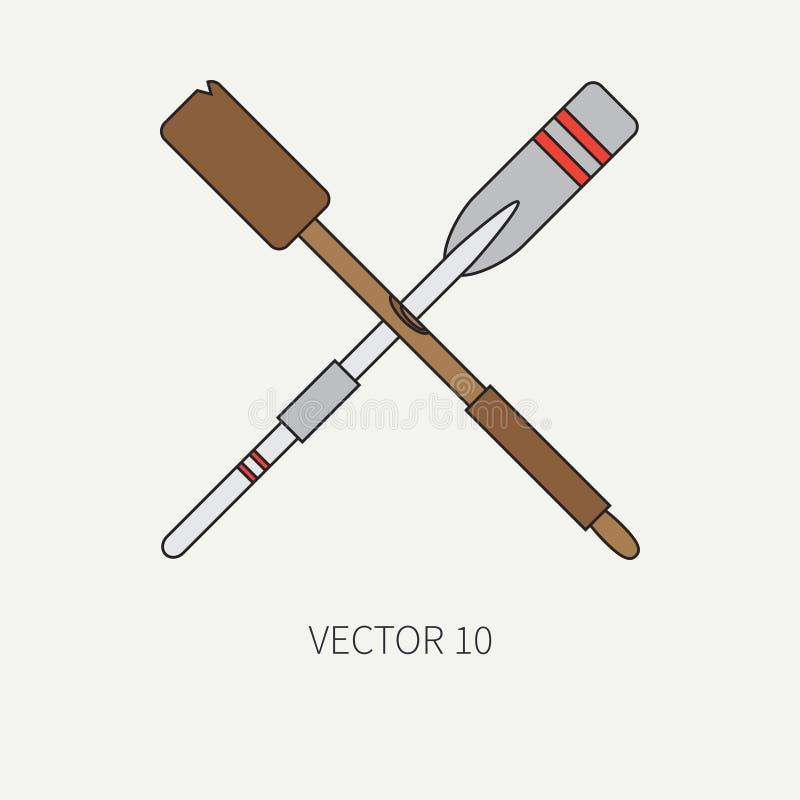 Alinee el icono marino con los elementos náuticos del diseño - paleta retra del color plano del vector Estilo de la historieta Ej stock de ilustración