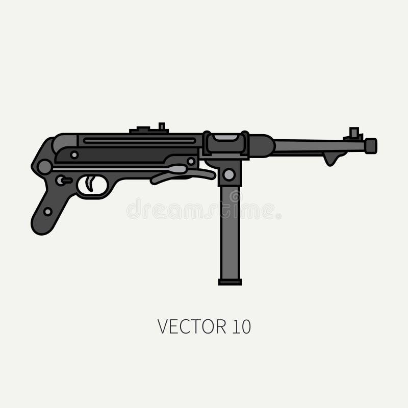 Alinee el icono militar del vector plano del color - ametralladora Equipo y armamento del ejército Arma retra legendaria Estilo d libre illustration