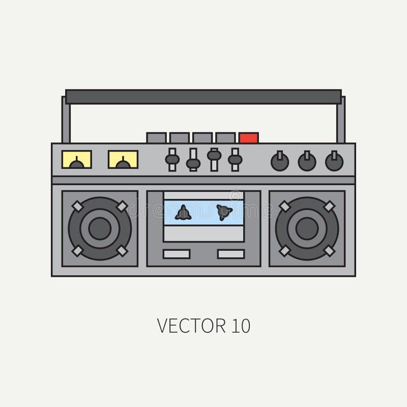 Alinee el icono plano del vector con el boombox audio eléctrico retro del dispositivo Música análoga de la difusión Estilo de la  stock de ilustración