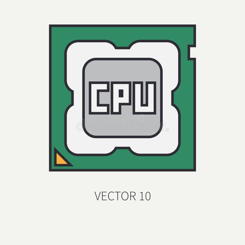 Alinee el procesador plano del icono de la pieza del ordenador de vector del color historieta Dispositivo de la mesa del juego de stock de ilustración