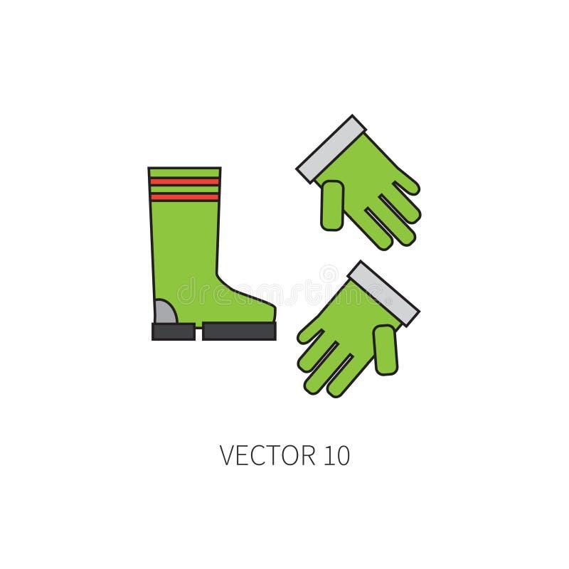 Alinee el utensilio de jardinería plano del icono del vector del color - los guantes y las botas que cultivan un huerto Estilo de stock de ilustración