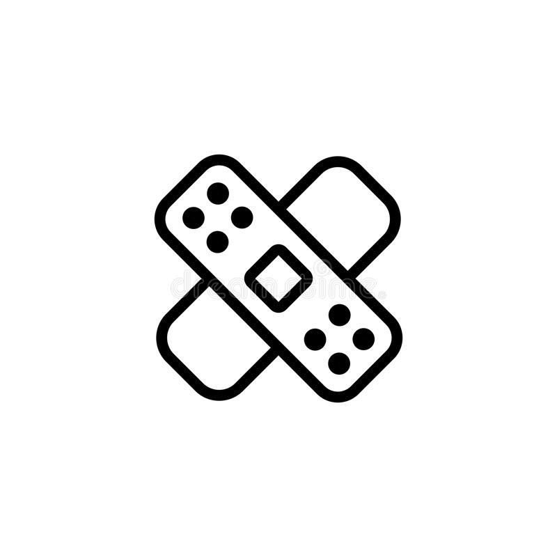Alinee el vendaje, icono del yeso en el fondo blanco ilustración del vector