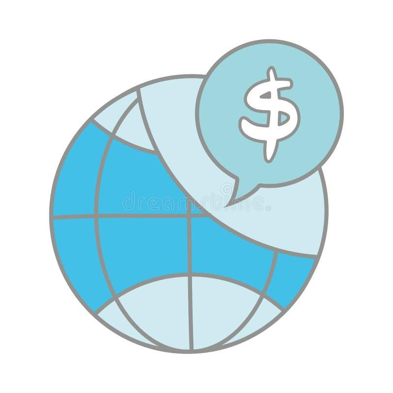 Alinee la conexión global del color con la burbuja de la charla del interior del símbolo del dólar stock de ilustración