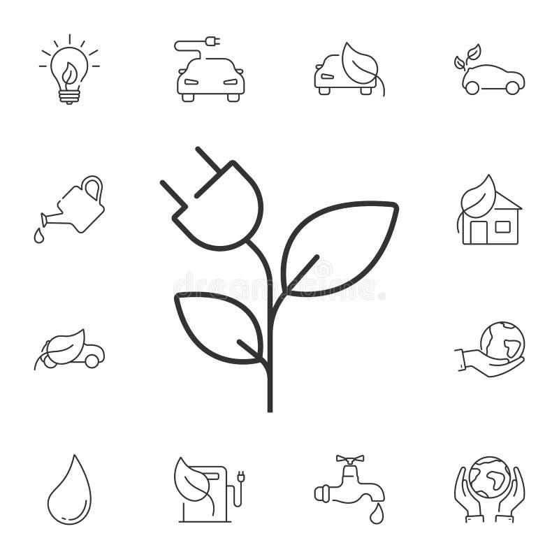 Alinee la energía eficiente, enchufe con el icono de la hoja Ejemplo simple del elemento Energía eficiente, enchufe con diseño de ilustración del vector