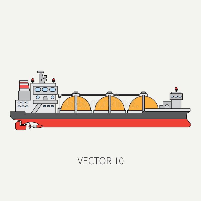 Alinee la nave de petrolero plana del océano del icono del color del vector Flota mercantil Estilo del vintage de la historieta A ilustración del vector