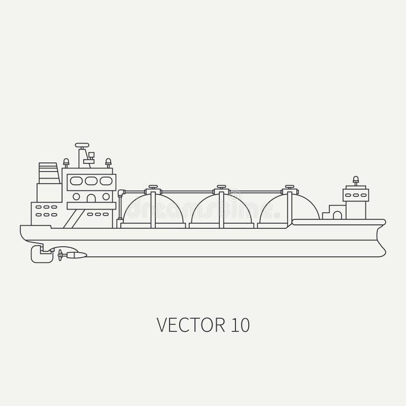 Alinee la nave de petrolero retra del océano del icono del vector plano Flota mercantil Estilo del vintage de la historieta Aceit ilustración del vector