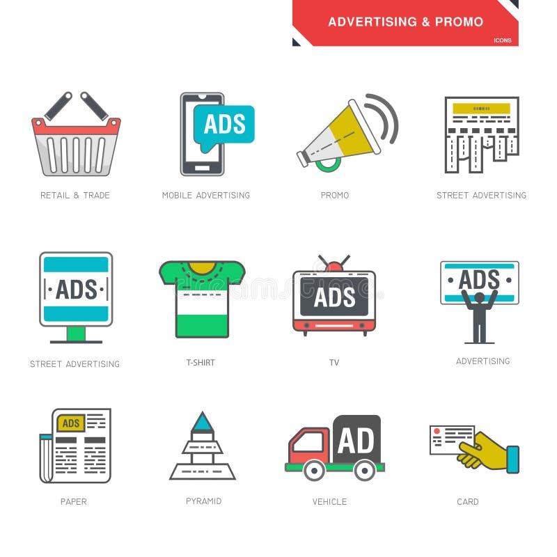 Alinee los iconos del vector de la promoción del producto del márketing de publicidad ilustración del vector