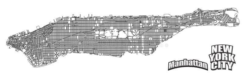 Alinged горизонтальная карты Манхаттана иллюстрация вектора