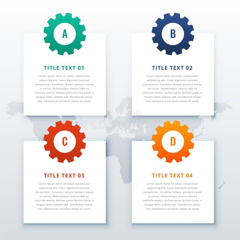 Alinha o fundo infographic com quatro etapas ilustração royalty free