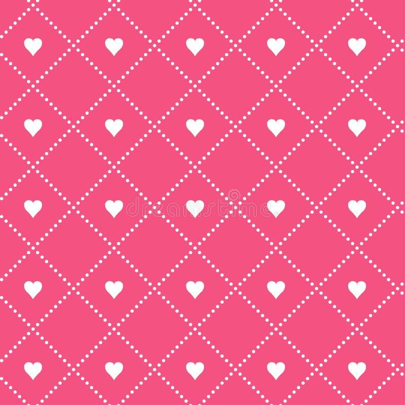 ALINHADOR LONGITUDINAL SEM EMENDA DO VETOR DA GRADE GEOMÉTRICA MODERNA QUADRADO DOS PONTOS NO CORAÇÃO Fundo do dia de Valentim do ilustração royalty free