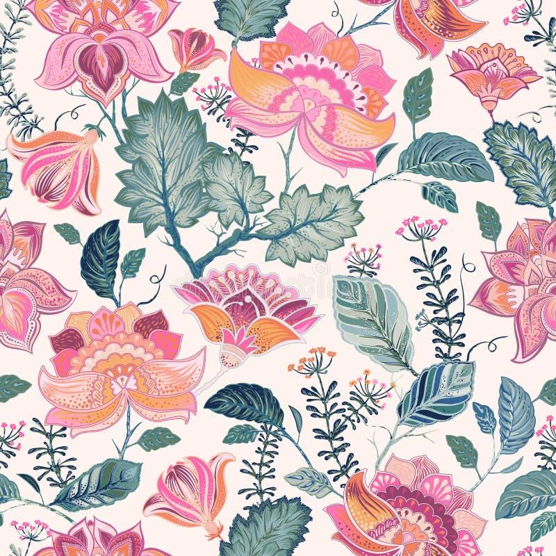 Alinhador longitudinal sem emenda floral, estilo de provence ilustração stock