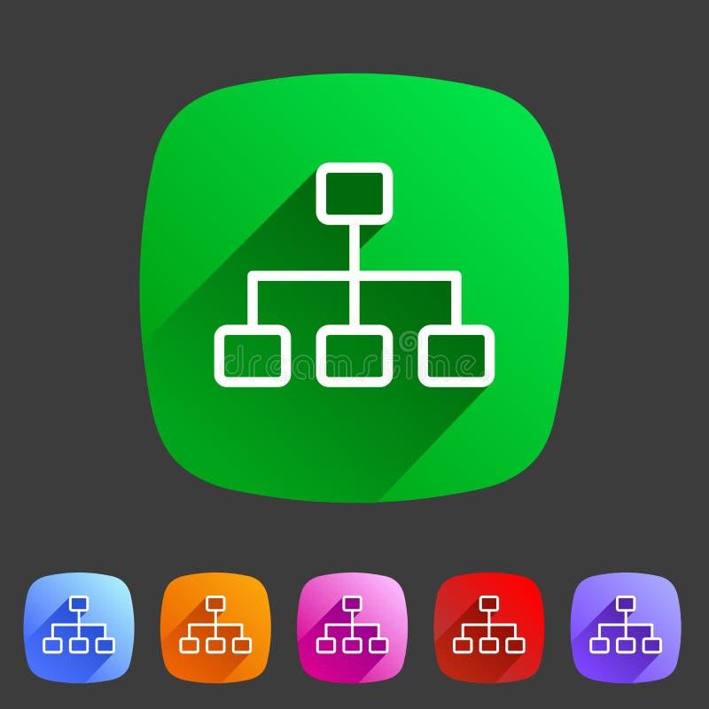 Alinhe a etiqueta lisa do logotipo do símbolo do sinal da Web do ícone da hierarquia ilustração stock
