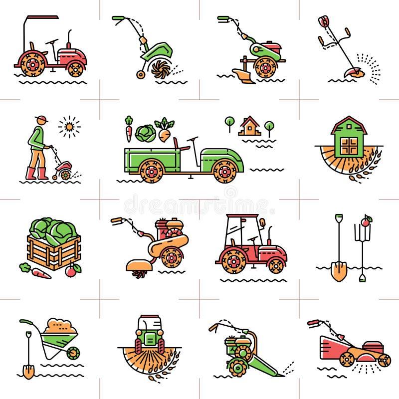 Alinhe ferramentas de jardim da maquinaria agrícola da agricultura da arte dos ícones ilustração stock