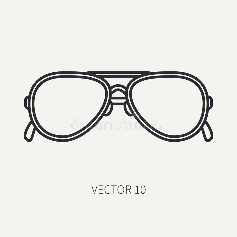 Alinhe o ícone dos óculos de sol da forma do vintage do vetor da planície lisa Estilo retro Sol do oceano, praia do mar Acessório ilustração stock