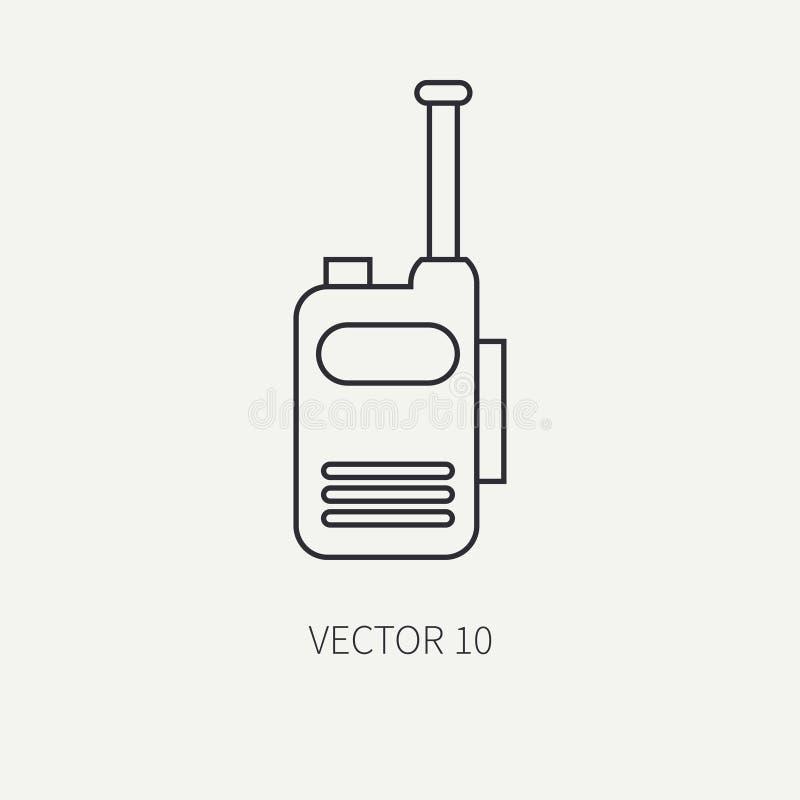 Alinhe o ícone militar do vetor liso - grupo de rádio Equipamento e armas do exército Estilo dos desenhos animados exército assal ilustração stock