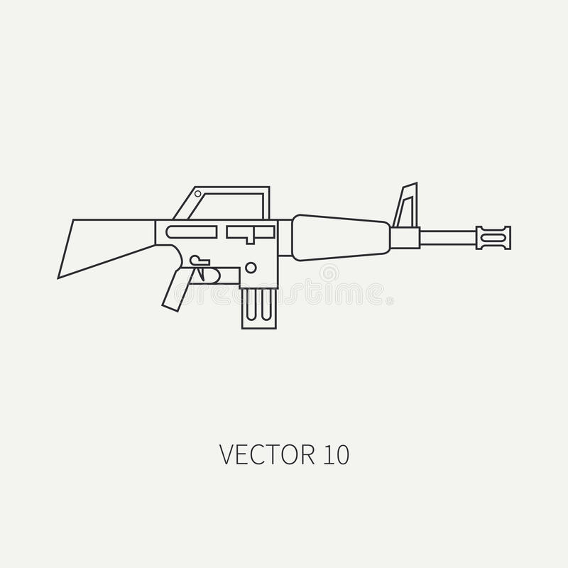 Alinhe o ícone militar do vetor liso - metralhadora Equipamento e armas do exército Estilo dos desenhos animados exército assalto ilustração do vetor
