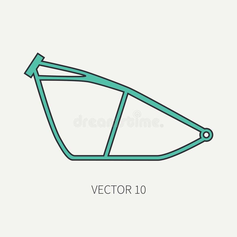 Alinhe o chassi liso da bicicleta do ícone da motocicleta do vetor da cor Retro legendário Estilo dos desenhos animados Motoclub  ilustração stock