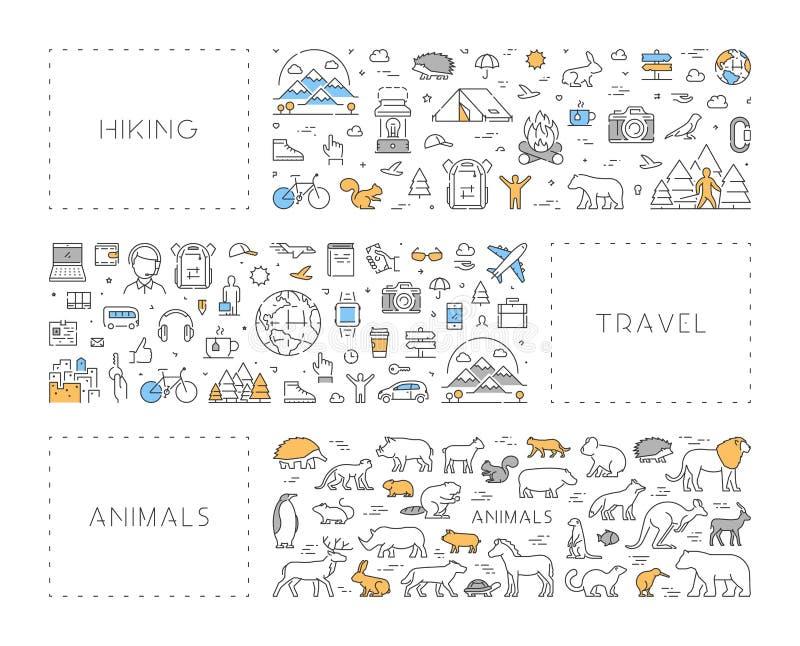 Alinhe o conceito para a caminhada, o curso e os animais ilustração do vetor