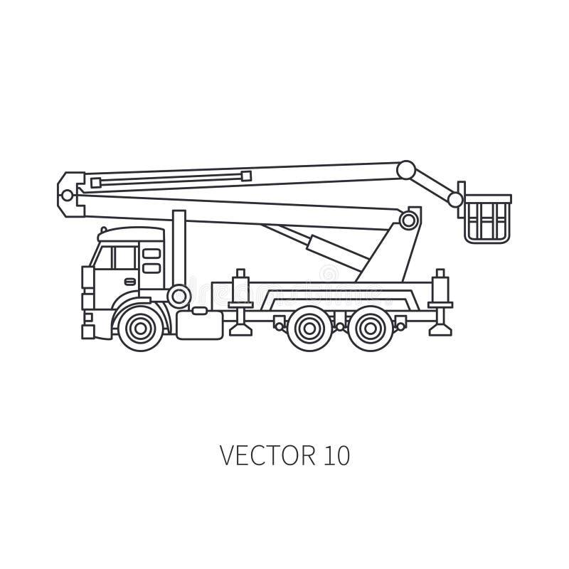 Alinhe o guindaste liso do automóvel do caminhão da maquinaria de construção do ícone do vetor Estilo industrial Entrega incorpor ilustração do vetor