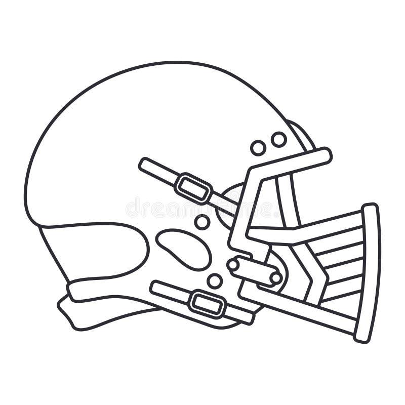 Alinhe o hóquei do ícone do vetor, rugby, capacete da defesa do basebol Símbolo do sucesso do equipamento de esporte Proteção pri ilustração royalty free